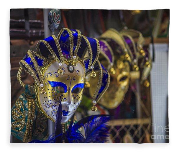 Venetian Carnival Masks Cadiz Spain Fleece Blanket