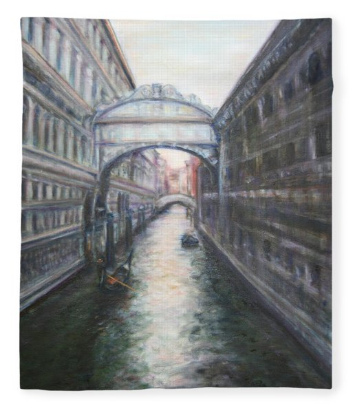 Venice Bridge Of Sighs - Original Oil Painting Fleece Blanket