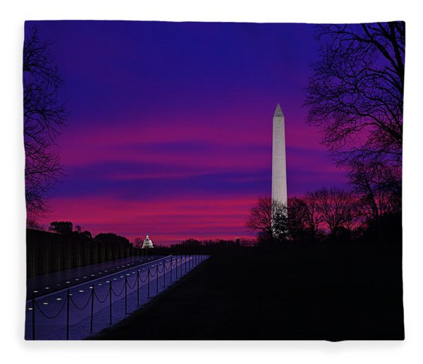 Vietnam Memorial Sunrise Fleece Blanket