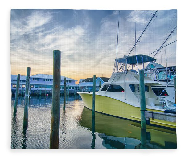 Fleece Blanket featuring the photograph View Of Sportfishing Boats At Marina by Alex Grichenko