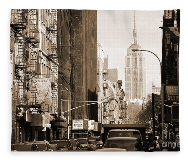 Vintage Chinatown And Empire State Fleece Blanket
