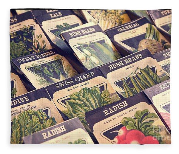 Vintage Seed Packages Fleece Blanket
