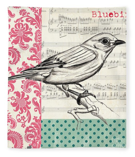 Vintage Songbird 1 Fleece Blanket