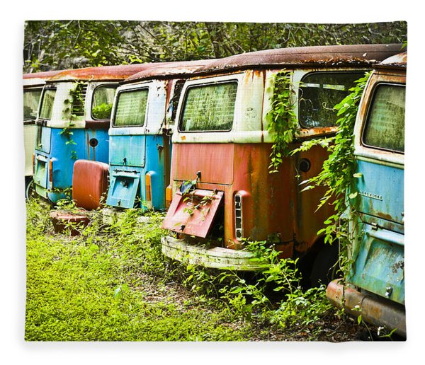 Fleece Blanket featuring the photograph Vw Buses by Carolyn Marshall