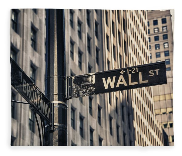 Wall Street Sign Fleece Blanket