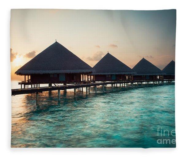 Waterbungalows At Sunset Fleece Blanket