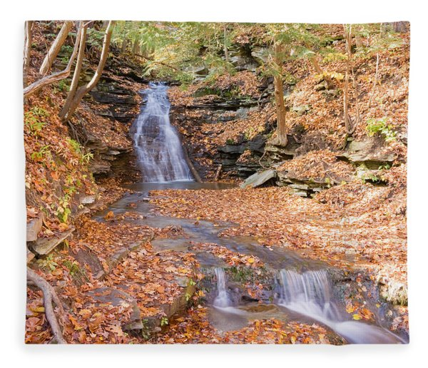 Waterfall In The Fall Fleece Blanket