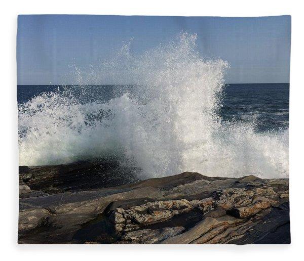 Waves Crashing On Rocky Maine Coast Fleece Blanket