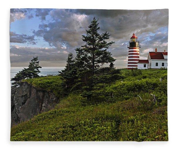 West Quoddy Head Lighthouse Panorama Fleece Blanket