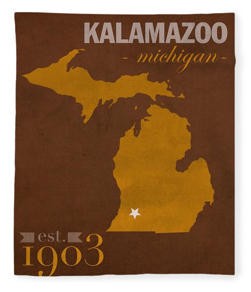 Western Michigan University Broncos Kalamazoo Mi College Town State Map Poster Series No 126 Fleece Blanket