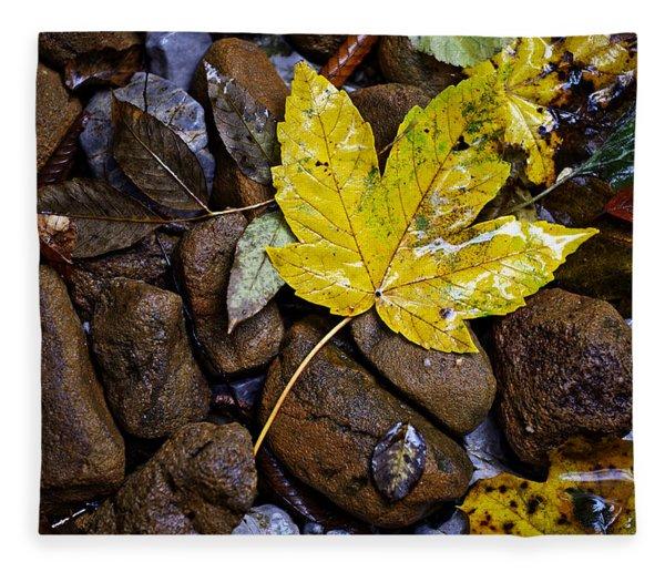 Wet Autumn Leaf On Stones Fleece Blanket
