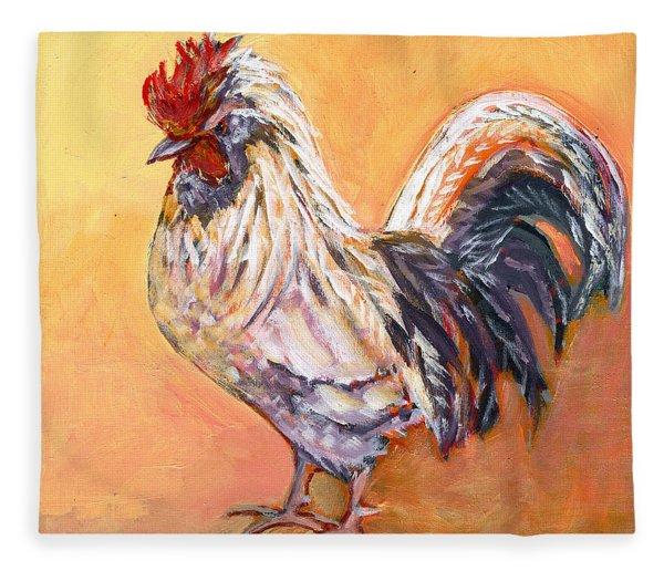 White Rooster Fleece Blanket