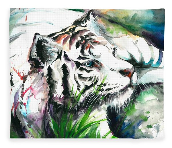 White Tiger Watercolor Art Print Fleece Blanket