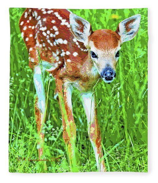 Whitetailed Deer Fawn Digital Image Fleece Blanket