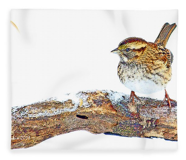 Whitethroated Sparrow On Snow-dusted Tree Branch Digital Art Fleece Blanket