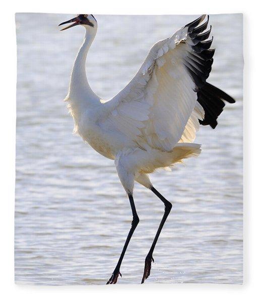 Whooping Crane - Whooping It Up Fleece Blanket