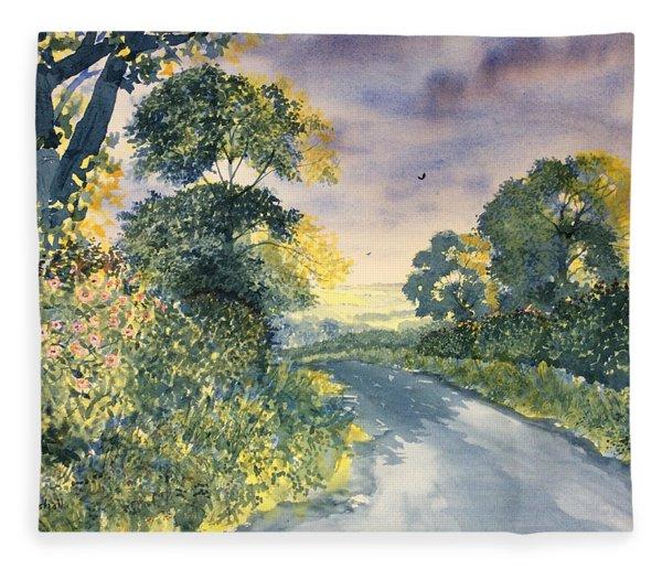 Wild Roses On The Wolds Fleece Blanket