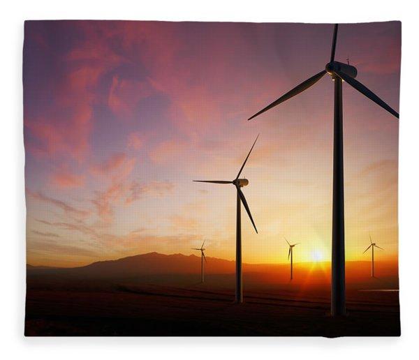 Wind Turbines At Sunset Fleece Blanket