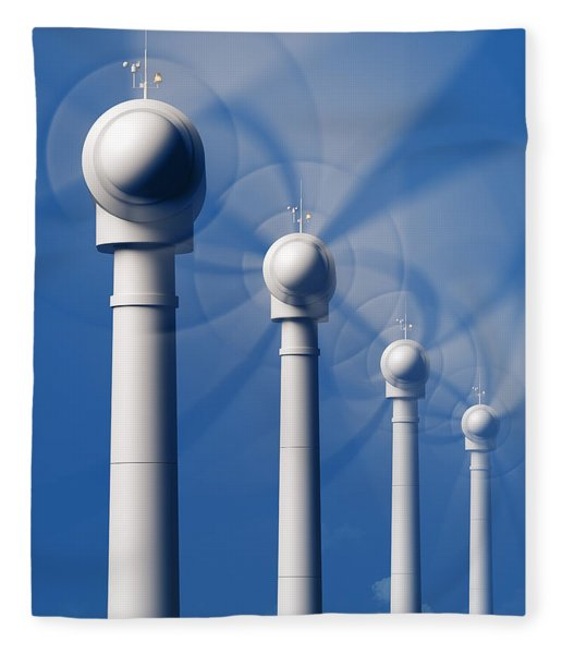 Wind Turbines In Motion From The Front Fleece Blanket