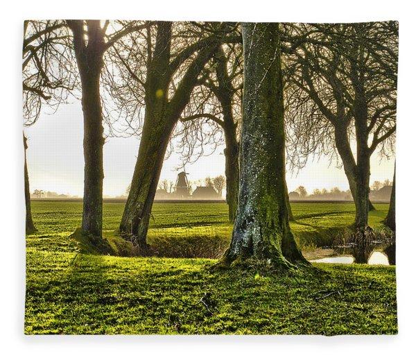Windmill And Trees In Groningen Fleece Blanket