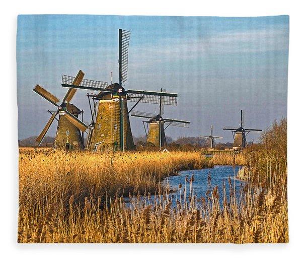 Windmills And Reeds Near Kinderdijk Fleece Blanket