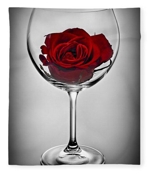 Wine Glass With Rose Fleece Blanket