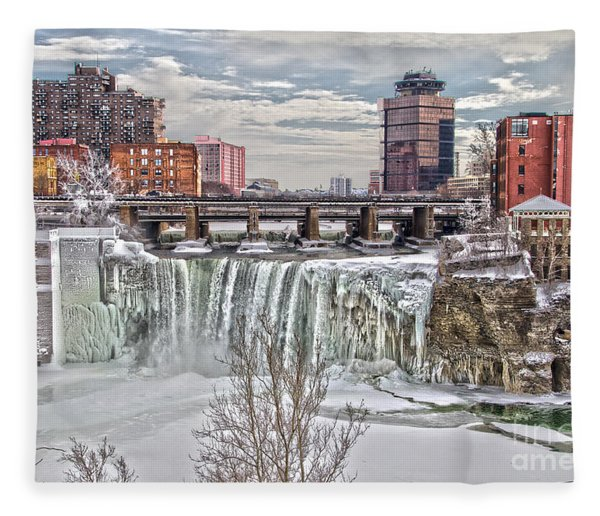 Winter At High Falls Fleece Blanket
