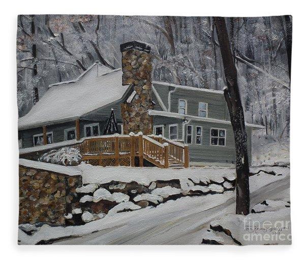 Winter - Cabin - In The Woods Fleece Blanket