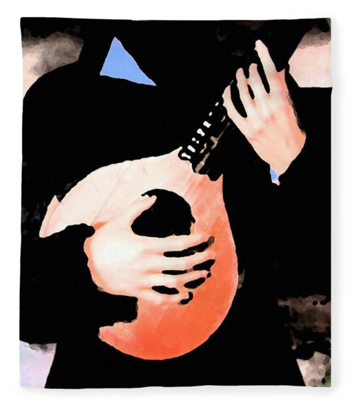 Fleece Blanket featuring the painting Women With Her Guitar by Colette V Hera  Guggenheim