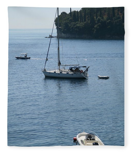 Yachts At Anchor Fleece Blanket