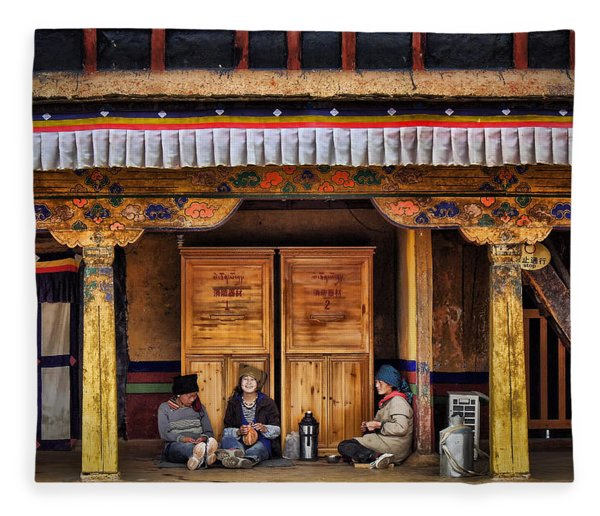 Yak Butter Tea Break At The Potala Palace Fleece Blanket
