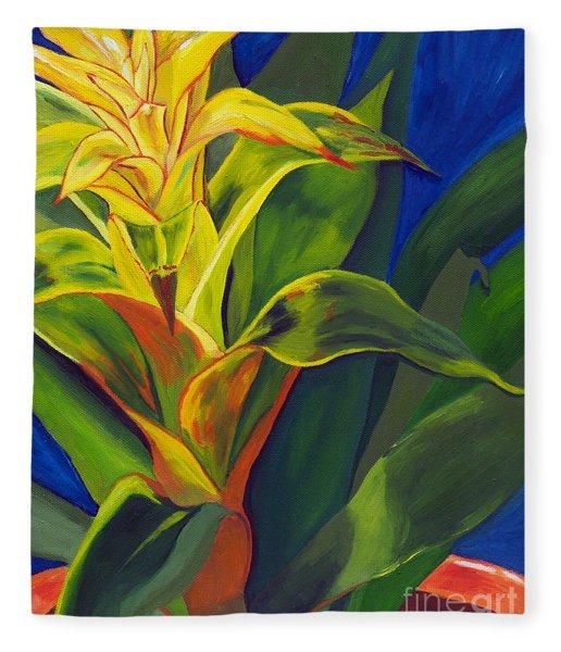 Yellow Bromeliad Fleece Blanket