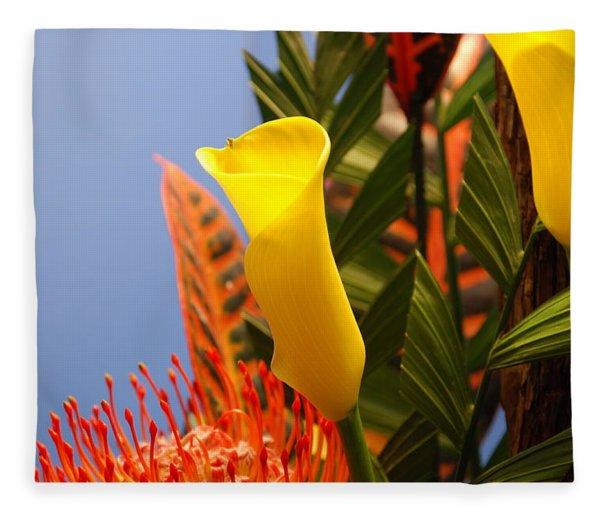 Yellow Calla Lilies Fleece Blanket