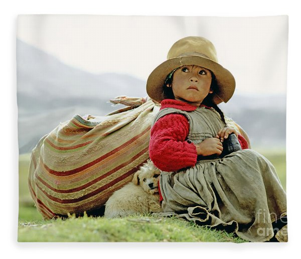 Young Girl In Peru Fleece Blanket