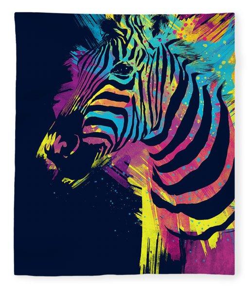 Zebra Splatters Fleece Blanket