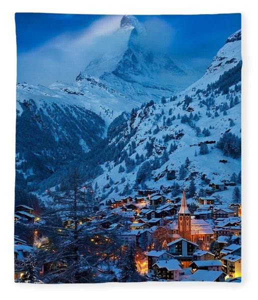 Fleece Blanket featuring the photograph Zermatt - Winter's Night by Brian Jannsen