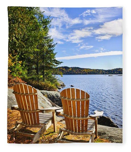 Adirondack Chairs At Lake Shore Fleece Blanket