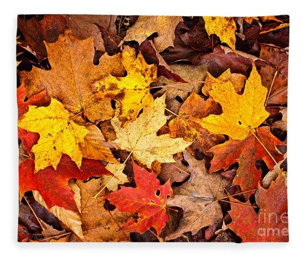 Fall Leaves Background Fleece Blanket