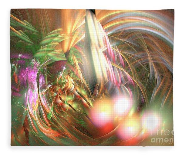 Fleece Blanket featuring the digital art Vanilla Moment - Abstract Art by Sipo Liimatainen