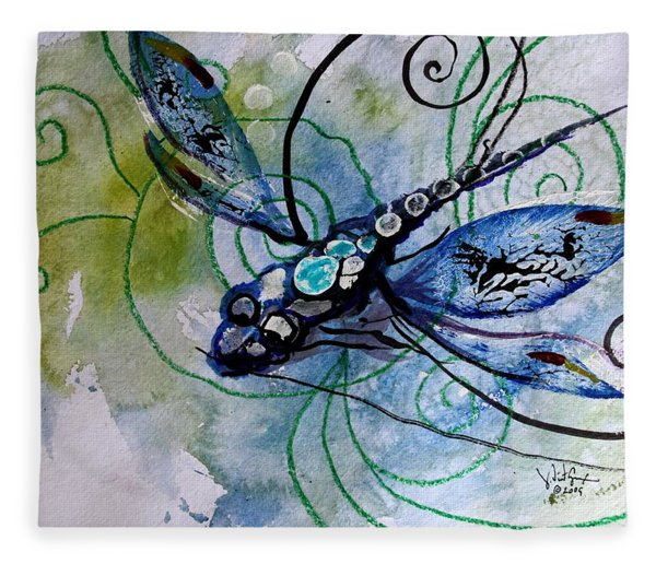 Abstract Dragonfly 10 Fleece Blanket