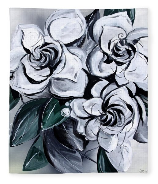Abstract Gardenias Fleece Blanket