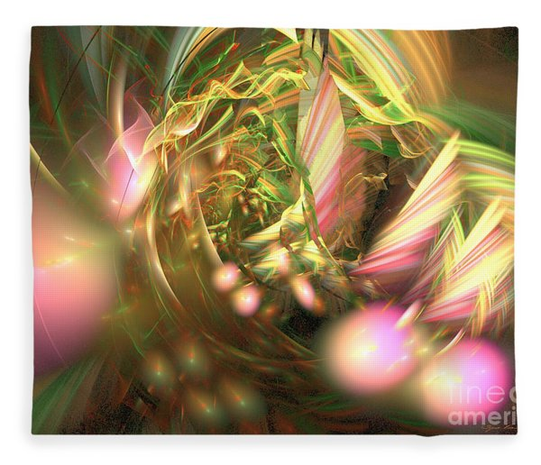 Fleece Blanket featuring the digital art At Dawn - Abstract Art by Sipo Liimatainen