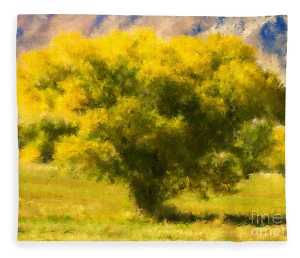 Autumn Cottonwood Fleece Blanket