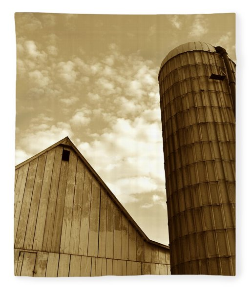 Barn And Silo In Sepia Fleece Blanket