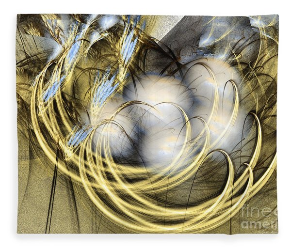 Fleece Blanket featuring the digital art Blue Lullaby - Abstract Art by Sipo Liimatainen