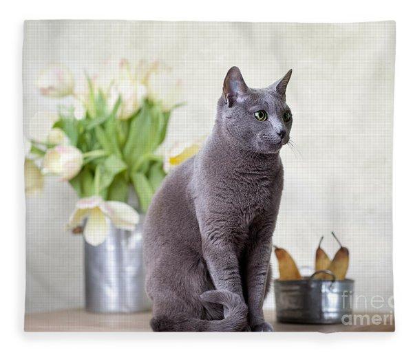 Cat And Tulips Fleece Blanket