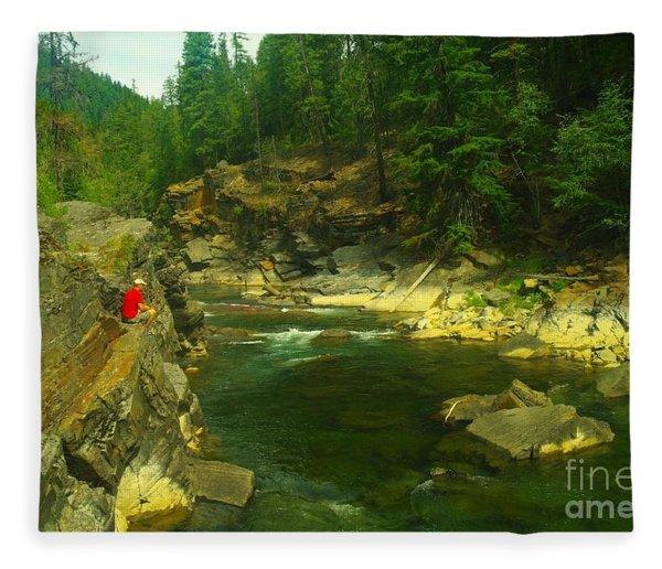 Cliff Over The Yak River Fleece Blanket