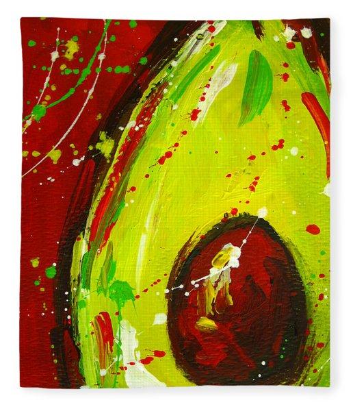 Crazy Avocado 3 - Modern Art Fleece Blanket