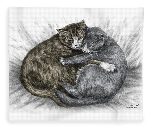 Cuddly Cats - Color Tinted Art Print Fleece Blanket