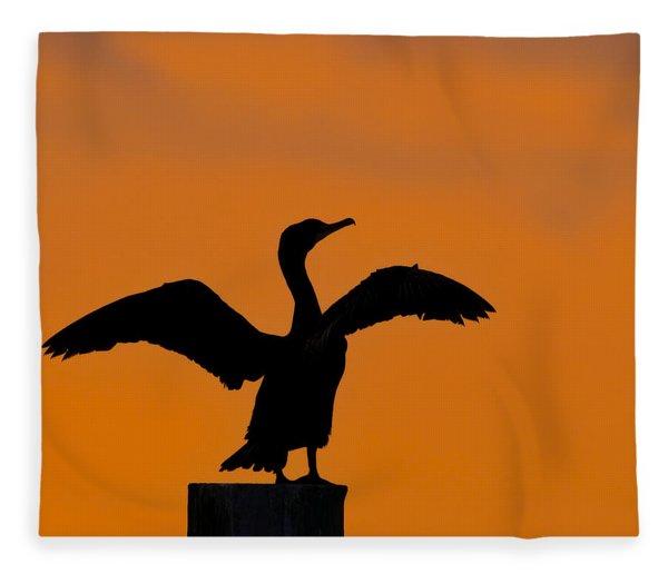 Dawn Of A Double-crested Cormorant  Fleece Blanket